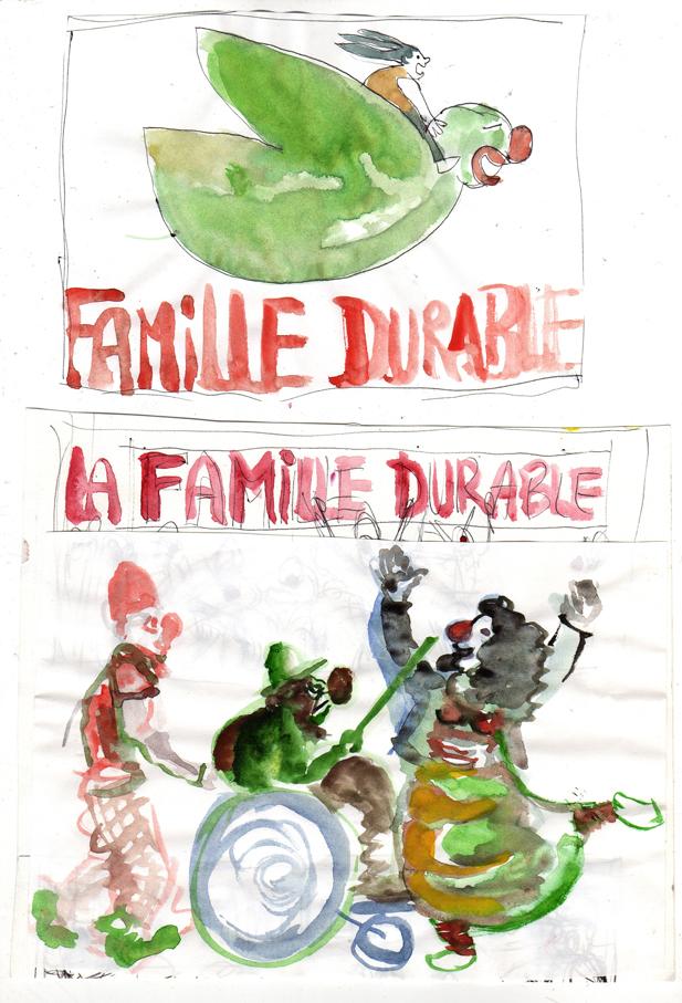 """Recherches pour l'affiche du spectacle """"La famille durable"""""""